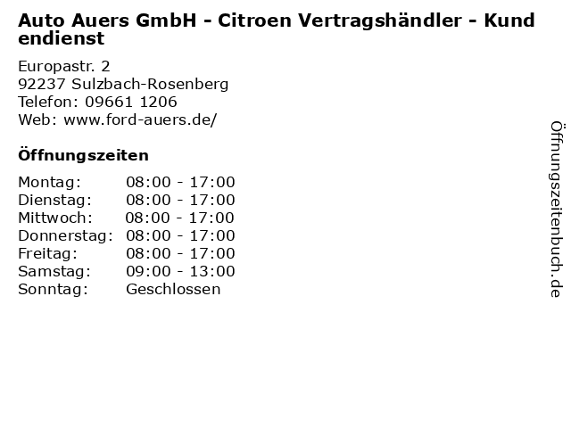 Auto Auers GmbH - Citroen Vertragshändler - Kundendienst in Sulzbach-Rosenberg: Adresse und Öffnungszeiten