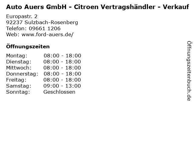 Auto Auers GmbH - Citroen Vertragshändler - Verkauf in Sulzbach-Rosenberg: Adresse und Öffnungszeiten