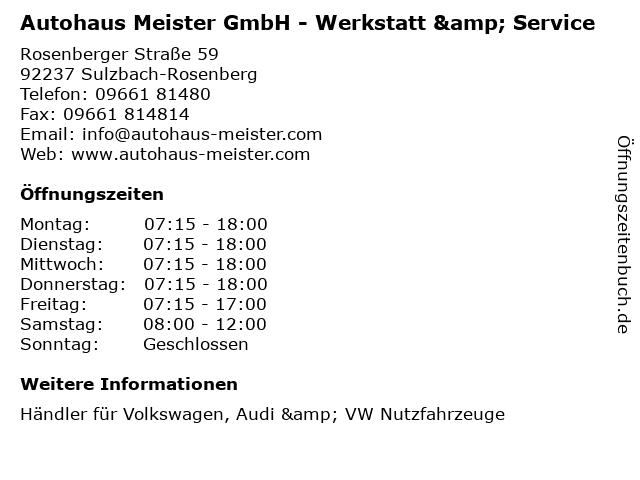 Autohaus Meister GmbH - Werkstatt & Service in Sulzbach-Rosenberg: Adresse und Öffnungszeiten