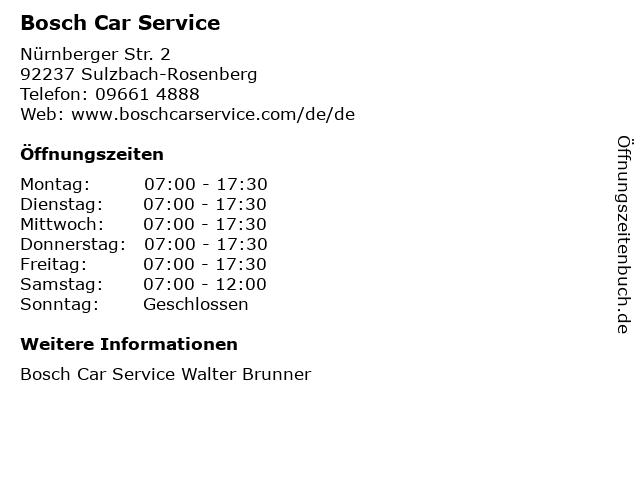 Bosch Car Service in Sulzbach-Rosenberg: Adresse und Öffnungszeiten