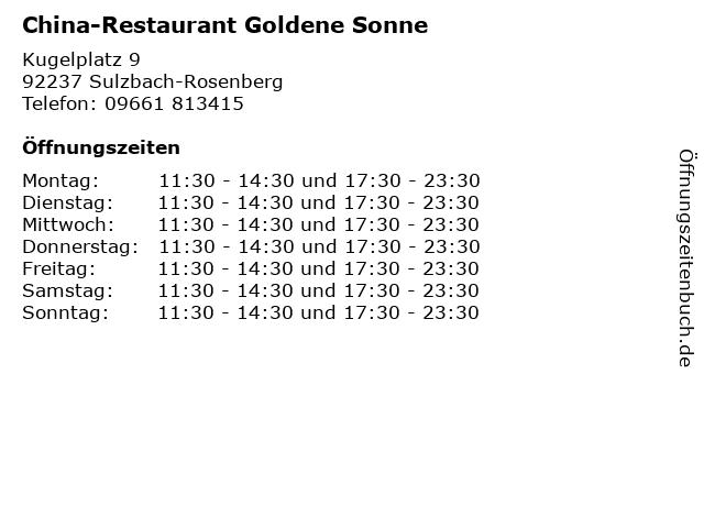 China-Restaurant Goldene Sonne in Sulzbach-Rosenberg: Adresse und Öffnungszeiten