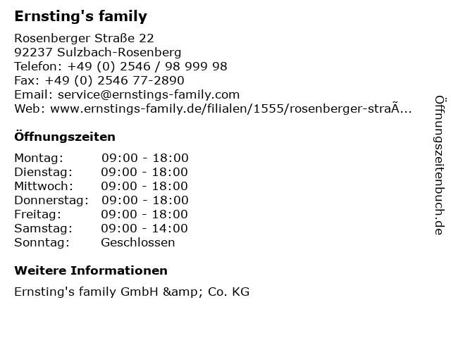 Ernsting's family GmbH & Co. KG in Sulzbach-Rosenberg: Adresse und Öffnungszeiten