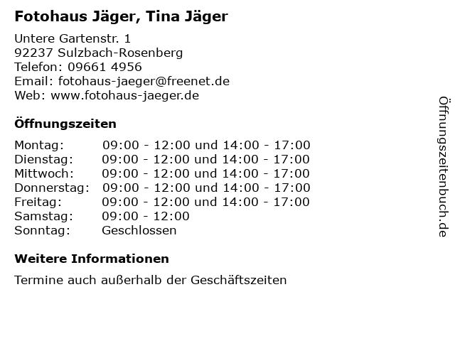 Fotohaus Jäger, Tina Jäger in Sulzbach-Rosenberg: Adresse und Öffnungszeiten