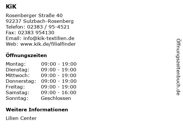 KiK Textilien & Non-Food GmbH in Sulzbach-Rosenberg: Adresse und Öffnungszeiten