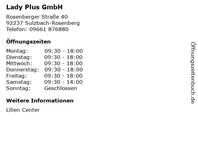 Lady Plus GmbH in Sulzbach-Rosenberg: Adresse und Öffnungszeiten