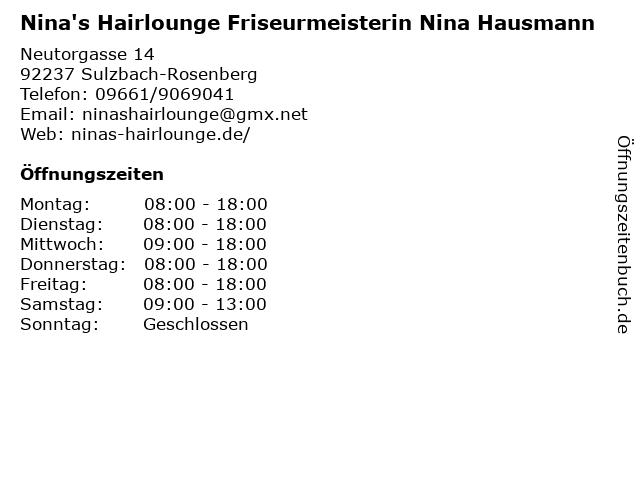 Nina's Hairlounge Friseurmeisterin Nina Hausmann in Sulzbach-Rosenberg: Adresse und Öffnungszeiten