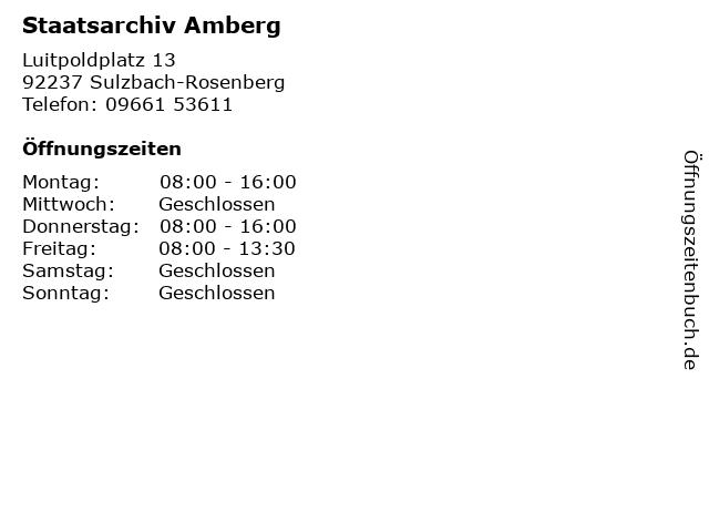 Staatsarchiv Amberg in Sulzbach-Rosenberg: Adresse und Öffnungszeiten