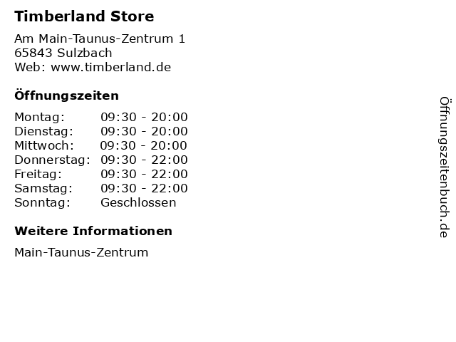 Timberland Store in Sulzbach: Adresse und Öffnungszeiten