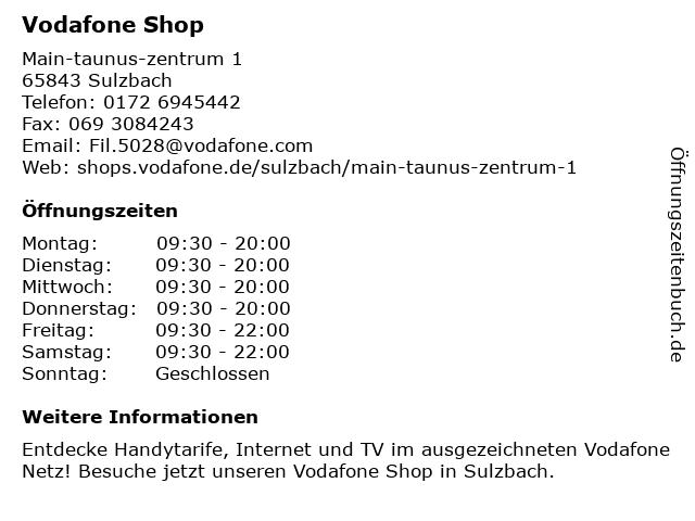 Vodafone Shop in Sulzbach: Adresse und Öffnungszeiten