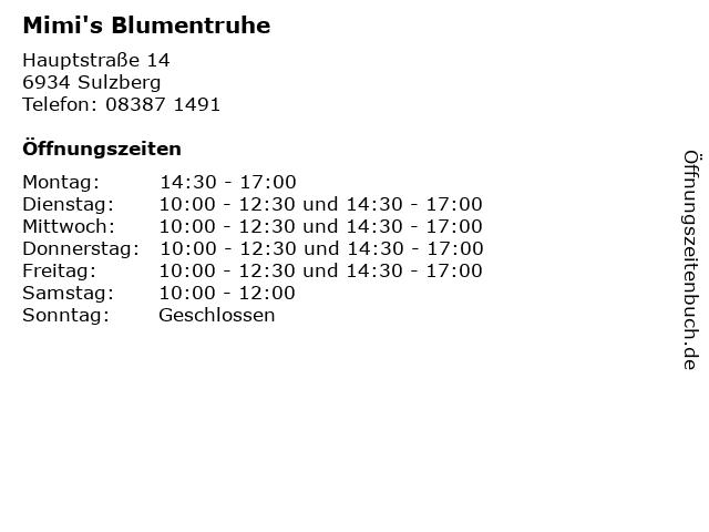 Mimi's Blumentruhe in Sulzberg: Adresse und Öffnungszeiten