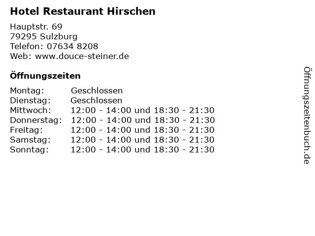 Hotel Restaurant Hirschen in Sulzburg: Adresse und Öffnungszeiten