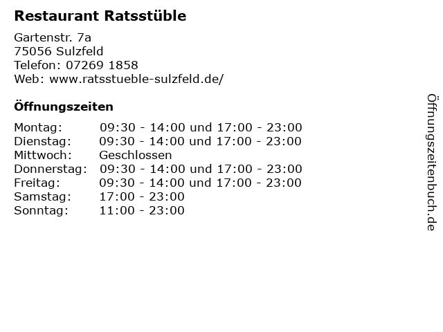 Restaurant Ratsstüble in Sulzfeld: Adresse und Öffnungszeiten