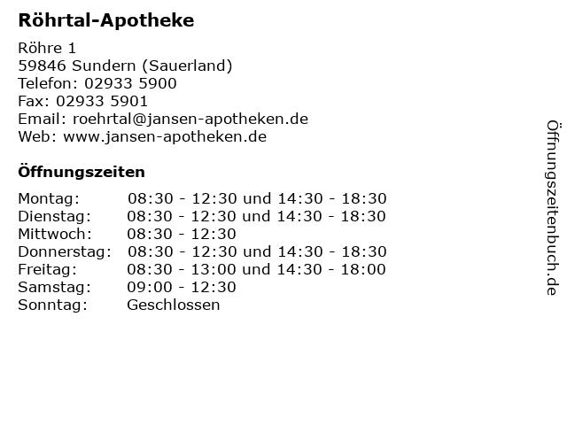 Röhrtal-Apotheke in Sundern (Sauerland): Adresse und Öffnungszeiten