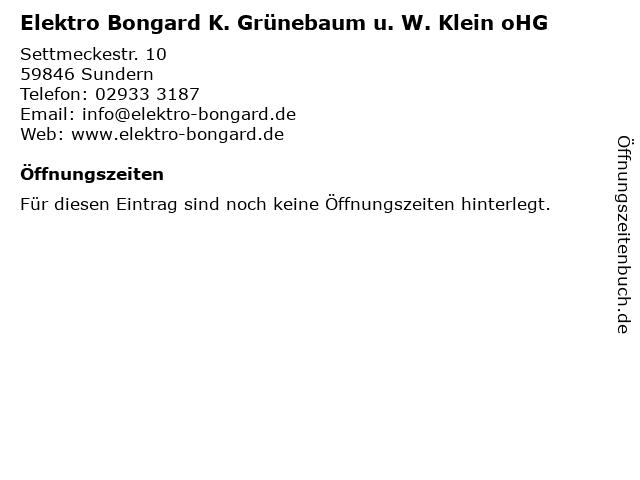 Elektro Bongard K. Grünebaum u. W. Klein oHG in Sundern: Adresse und Öffnungszeiten