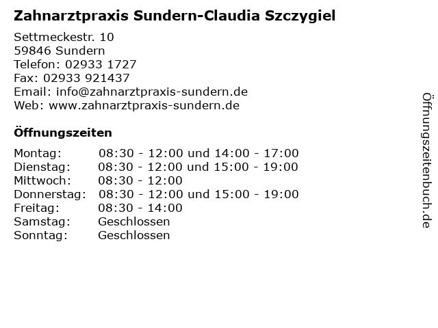 Zahnarztpraxis Sundern-Claudia Szczygiel in Sundern: Adresse und Öffnungszeiten