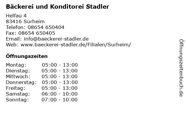 Bäckerei und Konditorei Stadler in Surheim: Adresse und Öffnungszeiten