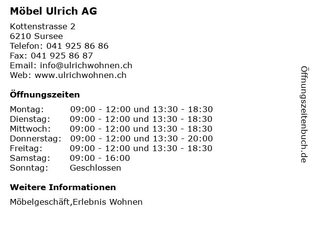 ᐅ öffnungszeiten Möbel Ulrich Ag Kottenstrasse 2 In Sursee