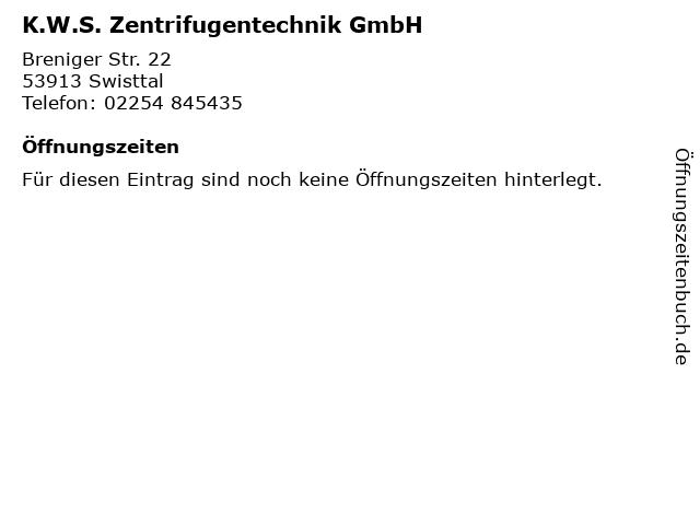 K.W.S. Zentrifugentechnik GmbH in Swisttal: Adresse und Öffnungszeiten