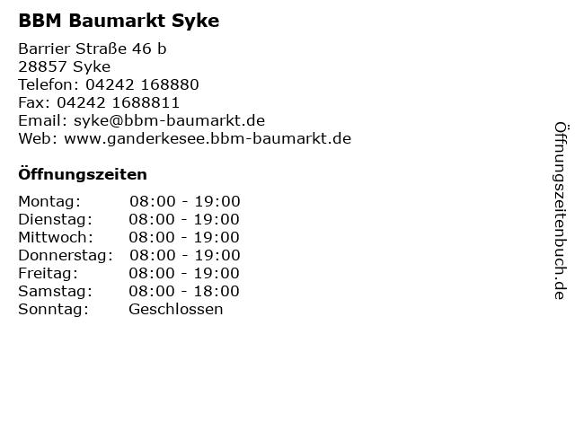 BBM Baumarkt Syke in Syke: Adresse und Öffnungszeiten
