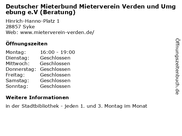 Deutscher Mieterbund Mieterverein Verden und Umgebung e.V (Beratung) in Syke: Adresse und Öffnungszeiten