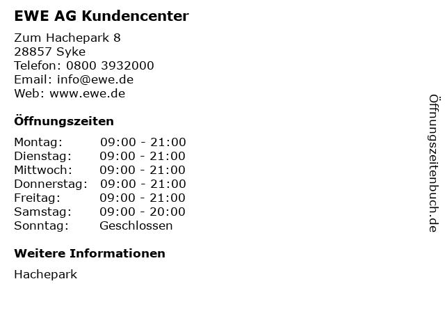 EWE AG Kundencenter in Syke: Adresse und Öffnungszeiten