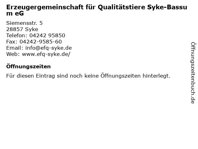 Erzeugergemeinschaft für Qualitätstiere Syke-Bassum eG in Syke: Adresse und Öffnungszeiten