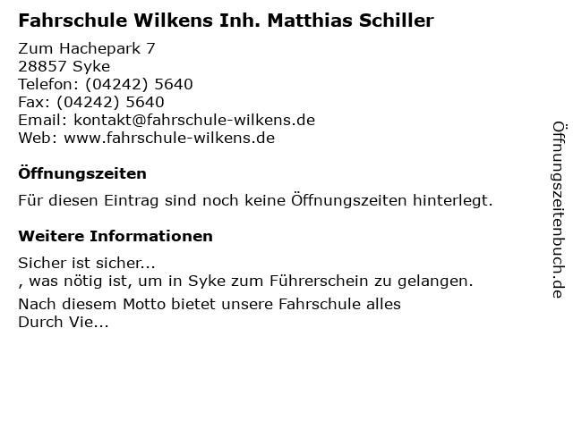 Fahrschule Wilkens Inh. Matthias Schiller in Syke: Adresse und Öffnungszeiten
