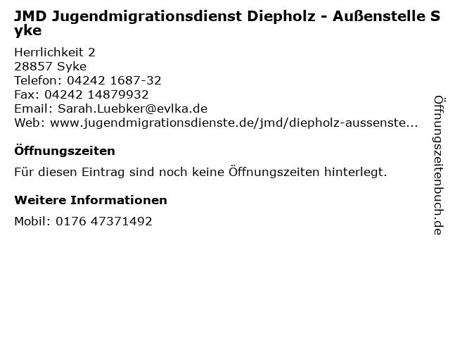 JMD Jugendmigrationsdienst Diepholz - Außenstelle Syke in Syke: Adresse und Öffnungszeiten