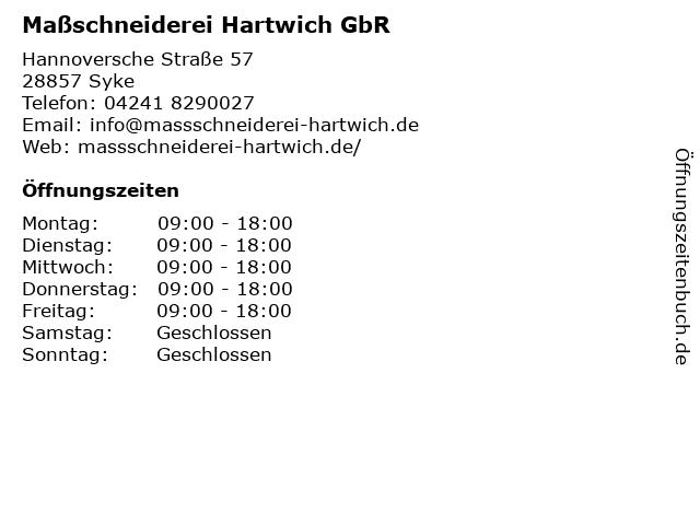 Maßschneiderei Hartwich GbR in Syke: Adresse und Öffnungszeiten