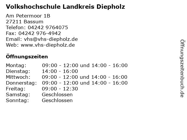 Volkshochschule Landkreis Diepholz,Geschäftsstelle Syke in Syke: Adresse und Öffnungszeiten