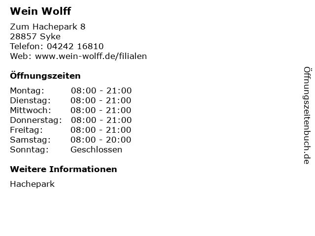 Wein Wolff in Syke: Adresse und Öffnungszeiten