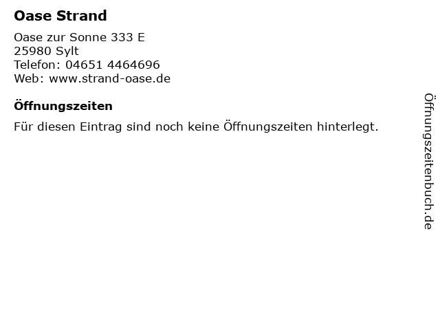 Oase Strand in Sylt: Adresse und Öffnungszeiten