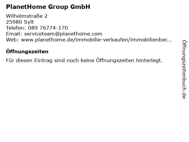 PlanetHome Group GmbH in Sylt: Adresse und Öffnungszeiten