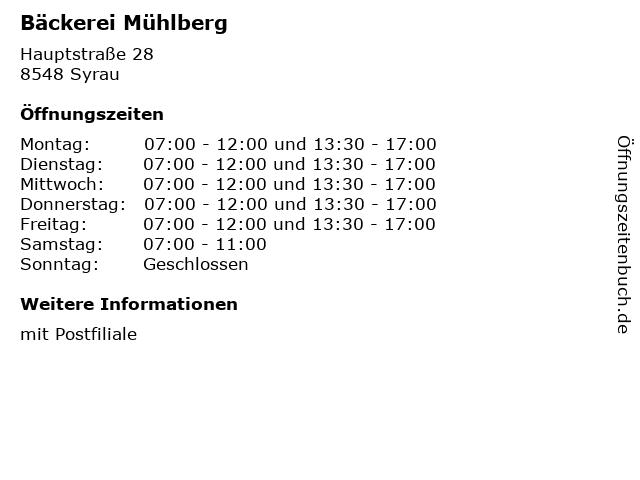 Bäckerei Mühlberg in Syrau: Adresse und Öffnungszeiten