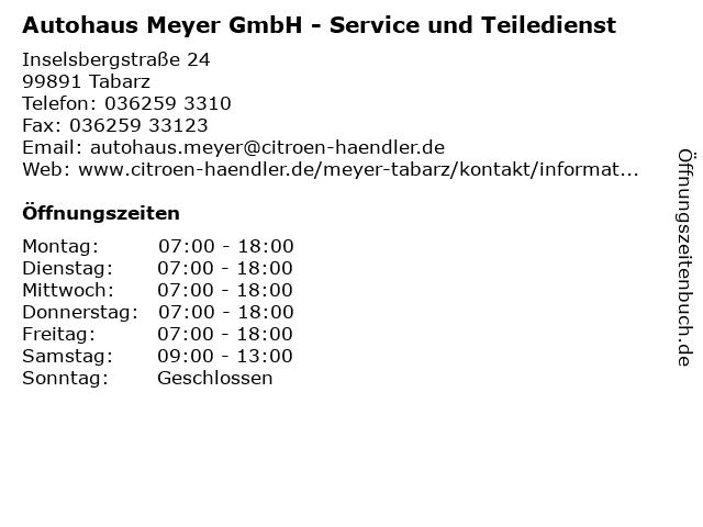 Autohaus Meyer GmbH - Service und Teiledienst in Tabarz: Adresse und Öffnungszeiten