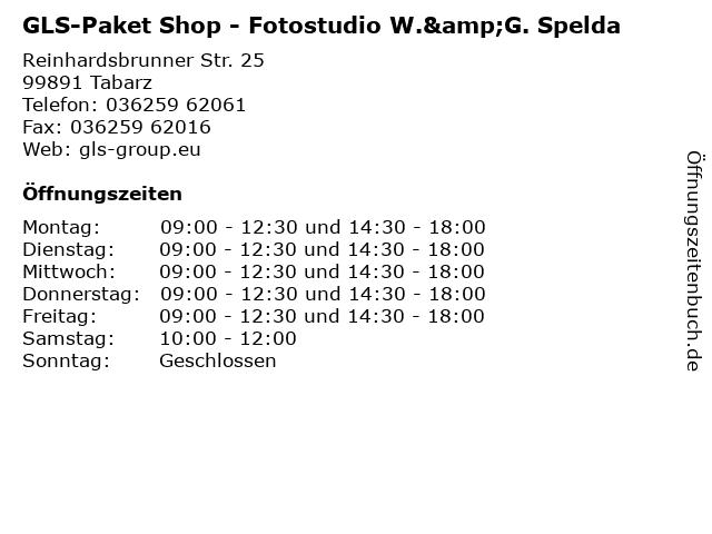 GLS-Paket Shop - Fotostudio W.&G. Spelda in Tabarz: Adresse und Öffnungszeiten