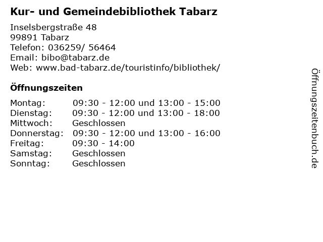Kur- und Gemeindebibliothek Tabarz in Tabarz: Adresse und Öffnungszeiten