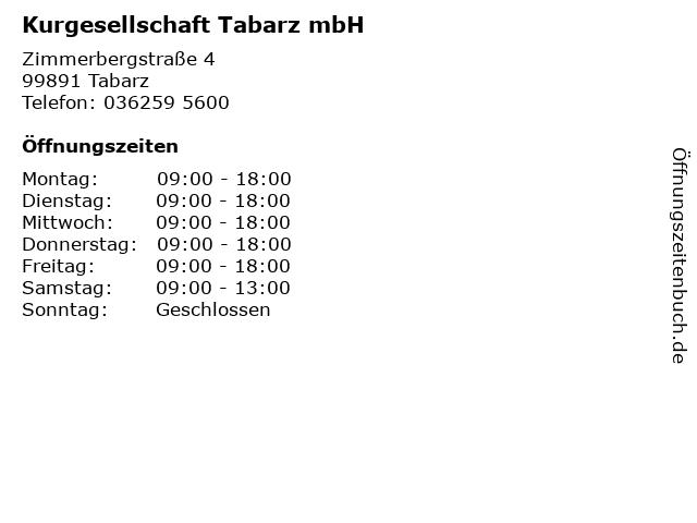 Kurgesellschaft Tabarz mbH in Tabarz: Adresse und Öffnungszeiten