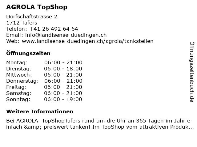 Agrola Tankstelle in Tafers: Adresse und Öffnungszeiten