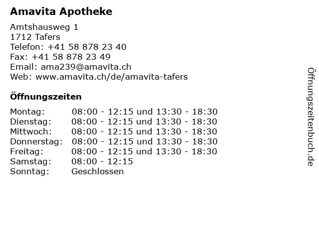 Amavita Apotheke in Tafers: Adresse und Öffnungszeiten