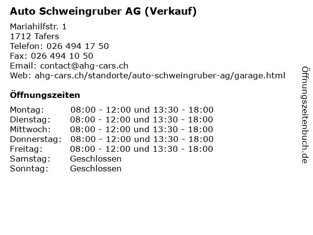 Auto Schweingruber AG (Verkauf) in Tafers: Adresse und Öffnungszeiten