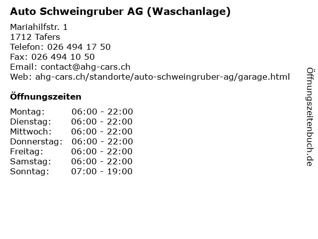 Auto Schweingruber AG (Waschanlage) in Tafers: Adresse und Öffnungszeiten