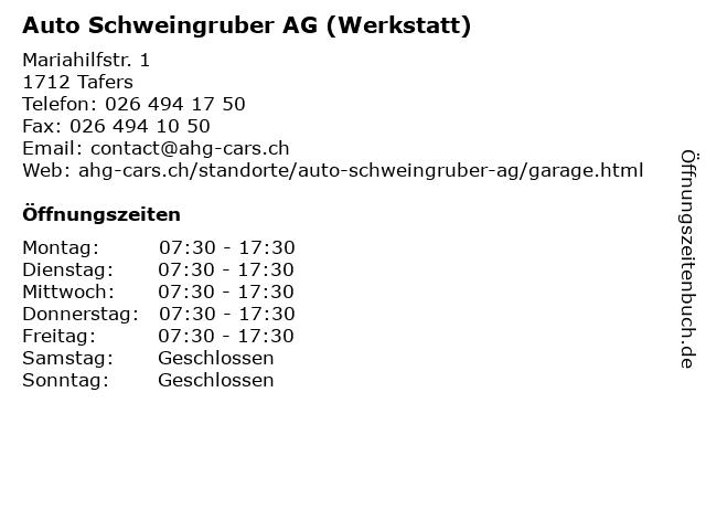 Auto Schweingruber AG (Werkstatt) in Tafers: Adresse und Öffnungszeiten