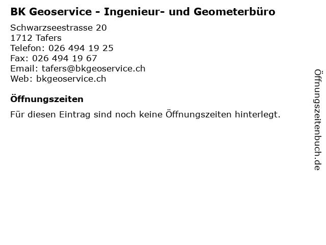 BK Geoservice - Ingenieur- und Geometerbüro in Tafers: Adresse und Öffnungszeiten