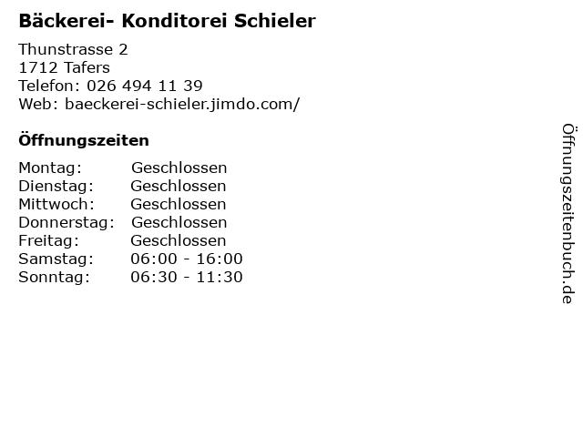 Bäckerei- Konditorei Schieler in Tafers: Adresse und Öffnungszeiten