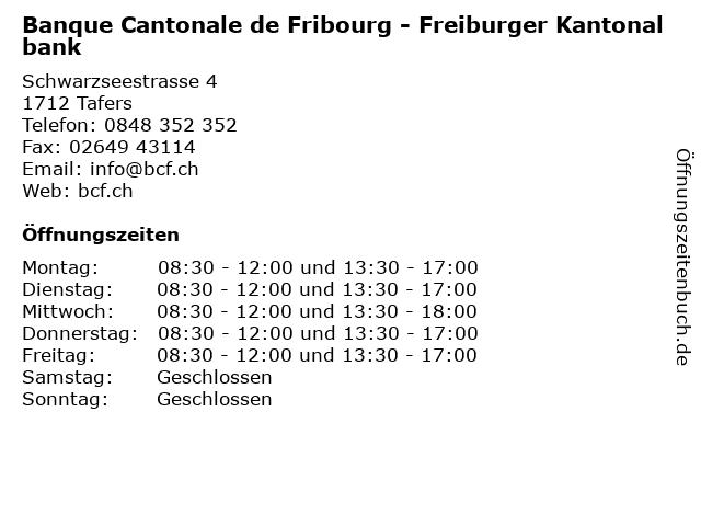 Banque Cantonale de Fribourg - Freiburger Kantonalbank in Tafers: Adresse und Öffnungszeiten