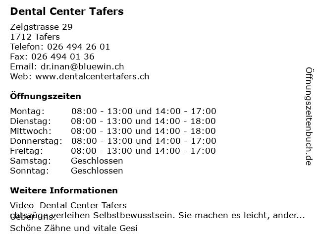 Dental Center Tafers in Tafers: Adresse und Öffnungszeiten