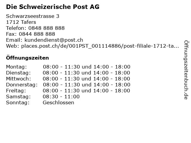 Die Schweizerische Post AG in Tafers: Adresse und Öffnungszeiten