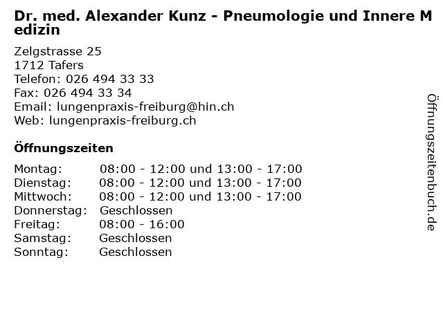 Dr. med. Alexander Kunz - Pneumologie und Innere Medizin in Tafers: Adresse und Öffnungszeiten