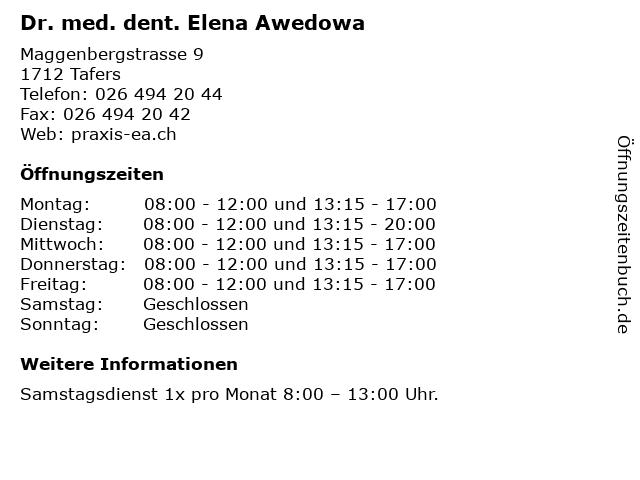 Dr. med. dent. Elena Awedowa in Tafers: Adresse und Öffnungszeiten